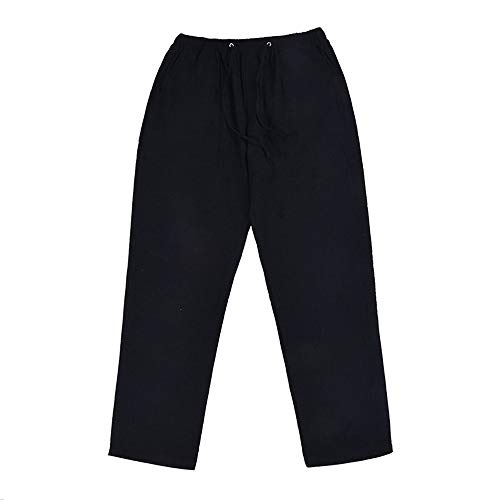 N\P Pantalones de lino para hombre, pantalones de correr, casual, cintura elástica, rectos, pantalones de correr
