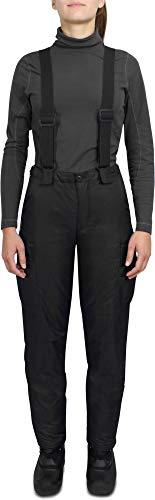 normani Damen Winter Thermohose gefüttert mit abnehmbaren Hosenträgern Farbe Schwarz Größe XS