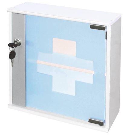 Spetebo - Armadietto per medicinali in legno massiccio, con porta in vetro, con serratura