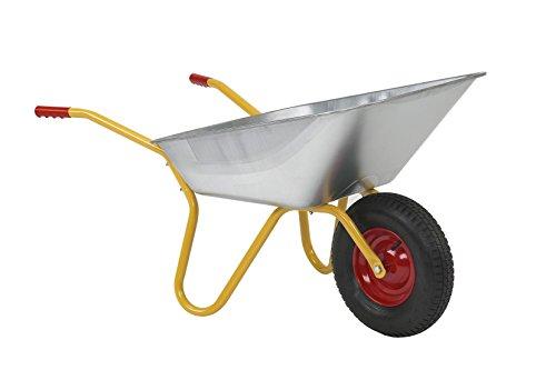 Ravendo BD 1002 PUR Schubkarre | 100 Liter Mulde | pannensicheres PU Rad | 150 kg Tragkraft | pulverbeschichteter Rahmen