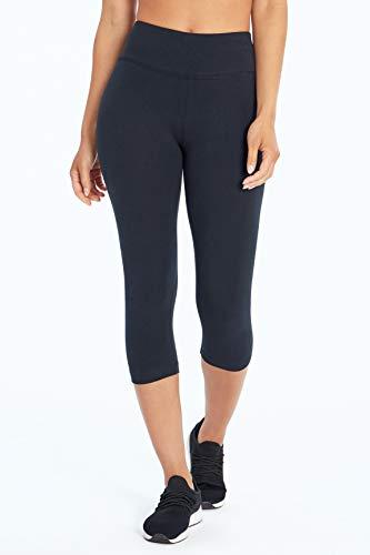 Bally Total Fitness Womens High Rise Tummy Control Capri Legging, Black, X-Large