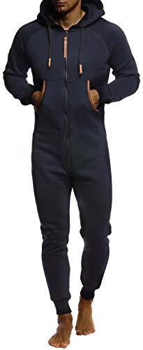 Leif Nelson Herren Overall Jumpsuit Onesie Trainingsanzug Jogginghose Trainings T-Shirt Fitness Männer Strampelanzug Bekleidung LN8270; Größe XL; Dunkel Blau