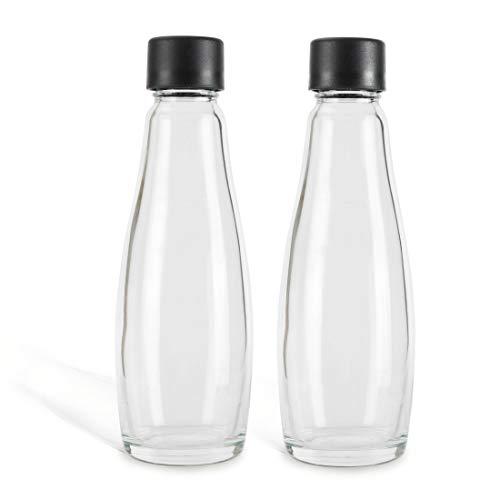 Zoomyo Glasslife Ersatz Glasflaschen für Wassersprudler, schickes Glaskaraffendesign, ca. 0,6 Liter Volumen, 1, 2 oder 3 Sprudler-Flaschen im Set, stabil und langlebig