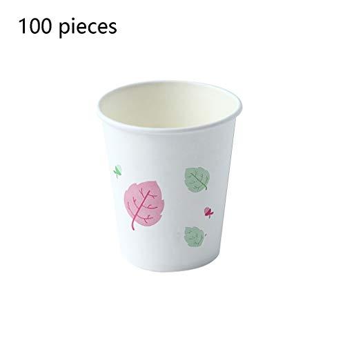 Zyj stores Einweg-Papierschalen-Getränk-Cup Kaffeebohne Milch Cola Milch-Tee Heißes Getränk Cup verdickte Cup Home Office 100 PC (Größe : 200ml)