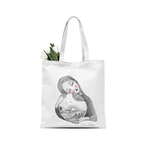 Bolsa shopper del artista Lilliana Comes Natura Mater pintada a mano para llevar edición limitada Made in Italy