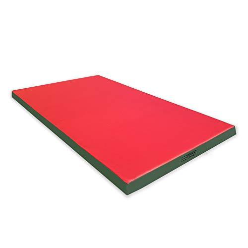 NiroSport Turnmatte 200 x 100 x 8 cm Gymnastikmatte Fitnessmatte Sportmatte Trainingsmatte Weichbodenmatte wasserdicht Rot/Grün
