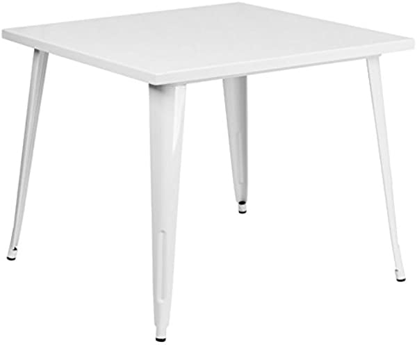 BOWERY HILL 35 5 Square Metal Dining Table In White