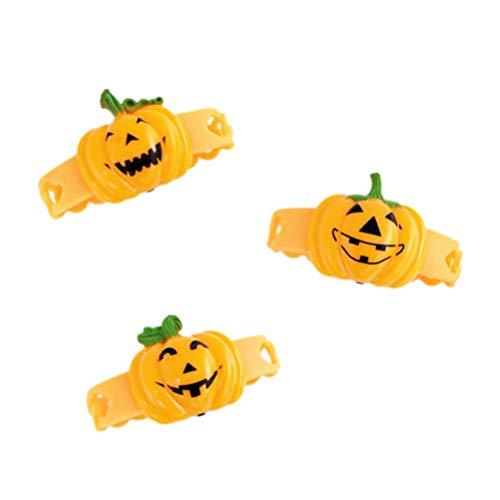 ABOOFAN 2 Piezas de Pulsera de Brillo LED de Halloween Que Brilla en La Oscuridad Pulseras de Calabaza Muñequera de Fiesta de Halloween Suministros Naranja