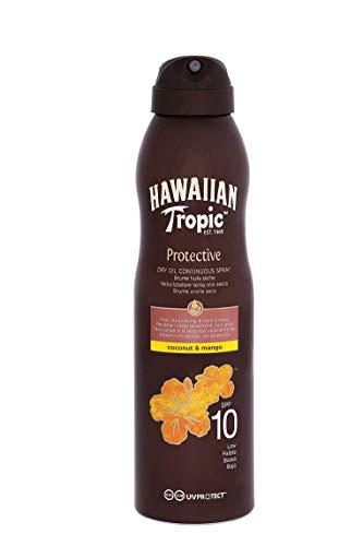 Hawaiian Tropic Protective Dry Oil Continous Spray - Aceite Seco Bronceador en Bruma Spray con Protección Baja SPF 10 , Fragancia Coco y Mango , 180 ml