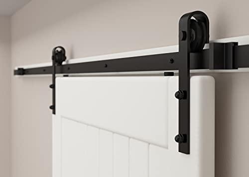 SANKEYTEW 6ft Single Door Barn Door Hardware Kit Heavy Duty Barn Door Track Kit Easy Install Smoothly and Quietly Black(j Shape)