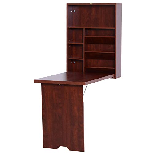 HOMCOM Compact Fold Out Wall Mounted Convertible Desk with Storage, Mahogany