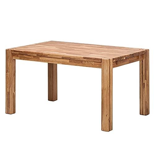 NordicStory - Tavolo da pranzo allungabile in legno massello di quercia, ideale per cucina, salotto o ufficio, mobili in stile nordico scandinavo rustico, 140-190 x 90 x 75 cm