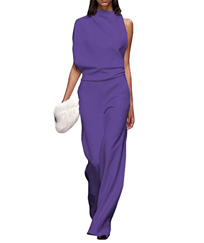 xxxiticat Jumpsuit Damen Elegant Playsuit One-Shoulder-Kragen Langarm Overall Rundhals Lang Romper Weites Bein Hohe Taille Overalls, 11 Farbig, S-3XL