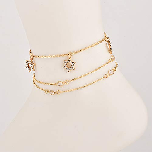 Jovono Multilayered Star Tassles Anklets Beaded Crystal Anklet Bracelets Fashion Beach Foot Jewelry for Women and Girls (Gold)