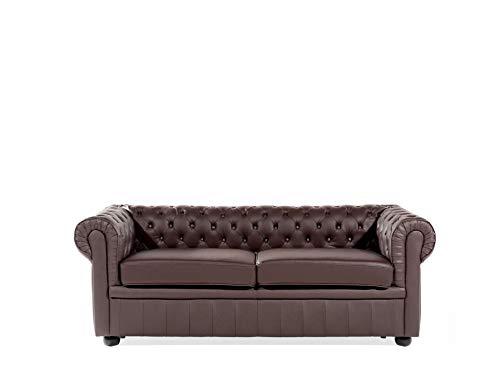 Beliani Klassisches Sofa in englischem Stiil Echtleder braun Chesterfield