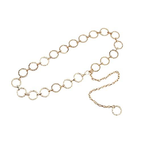 Cinturón 1 unids Retro Mujer Cintura Cadena Oro Plata Metal Dama Correas Simples cinturón de Mujer Accesorios Accesorios Vientre Cintura Cadena Cuerpo joyería Moda (Color : Gold Circle)