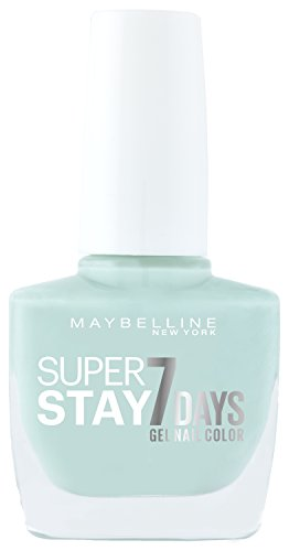 Maybelline New York Make-Up Super Stay Nailpolish Forever Strong 7 Days Finish Gel Nagellack Mint for Life / Farblack mit ultra starkem Halt ohne UV Lampe in leuchtendem Hellblau, 1 x 10 ml