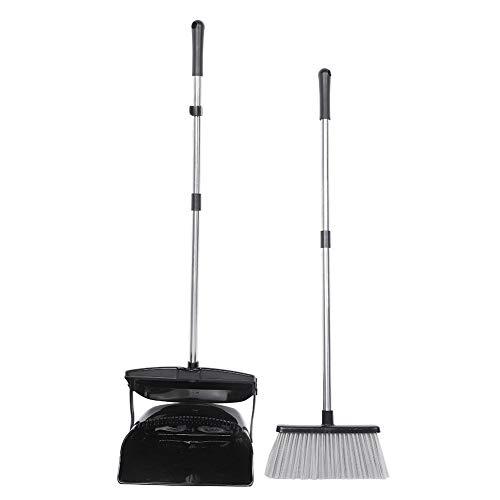 Set scopa e paletta, padelle in plastica con spazzola Manico lungo pieghevole per la pulizia della casa(NERO)