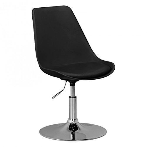 FineBuy HAINAN | Drehsessel Esszimmerstuhl Kunstleder-Sitzfläche Schwarz | Drehstuhl ist höhenverstellbar | Drehhocker mit Rückenlehne | Besucherstuhl mit Schalensitz | Wartezimmerstuhl ohne Armlehnen