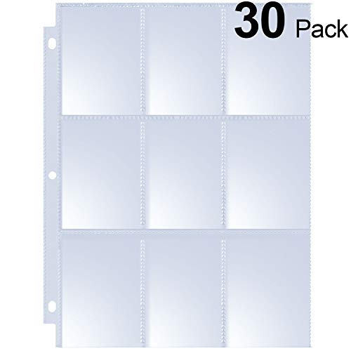 MaxGear 9 Pocket Pages Protectors Trading Card Pages Sleeves Coupon Pages for 3 Ring Binder Card Sheets for Pokemon Trading Cards, Baseball Cards, Sport Cards, Game Cards, Business Cards, 30 Pages