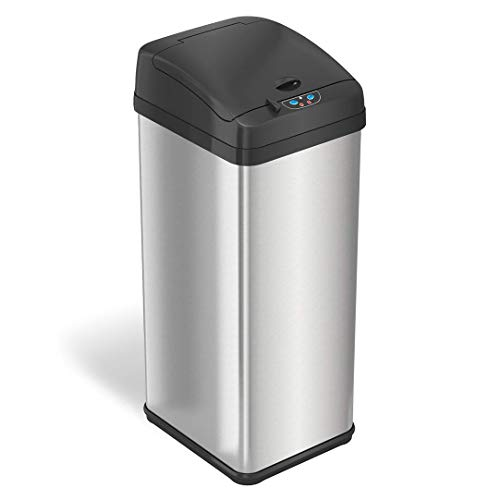 iTouchless 13 Gallon Pet-Proof Sensor Trash Can with AbsorbX Odor Filter System, Stainless Steel Kitchen Garbage Bin Prevents Dogs and Cats Getting in, Battery (not Included) or AC Adapter (Optional)