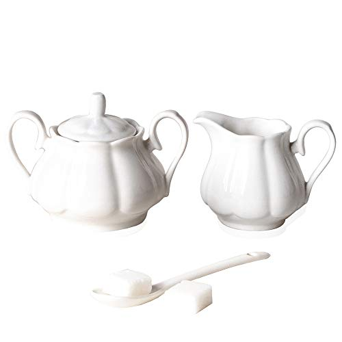Rnmgg Ceramic Simple white color Creamer and Sugar Set with Lid Spoon, Coffee Serving Set of 2 (white)