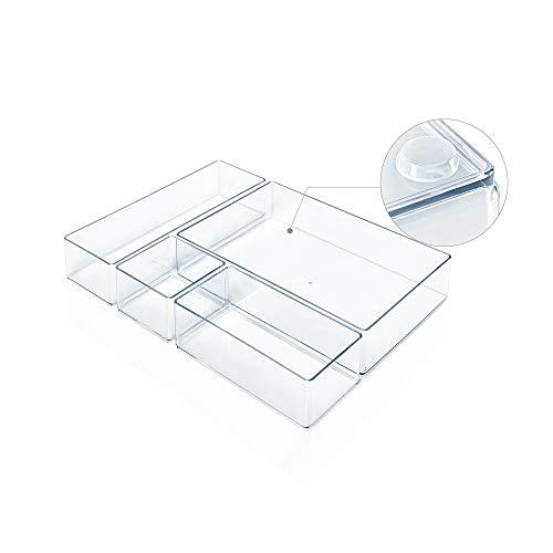 Lilly Things ANTIRUTSCH Schubladen Ordnungssystem (transparent) Schubladen Organizer Schubladeneinsatz Aufbewahrungsbox für Make-Up Kosmetik Schminktisch Schreibtisch Büro Bad Küche (4-teilig)