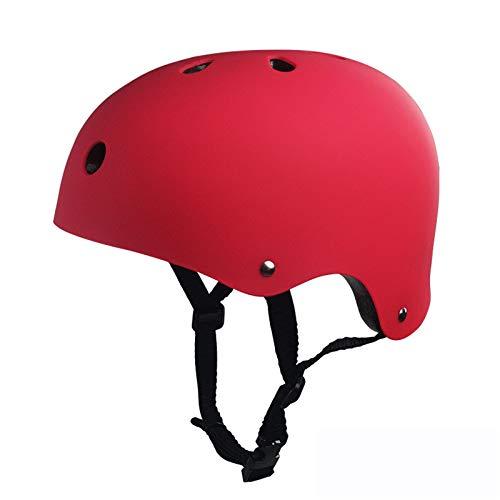 QQYYY Casco De Bicicleta, Casco Niños Ajustable para Monopatín, Casco Infantil para BMX, Patinaje, Ciclismo, Monopatín (Edades 3-13),Rojo,S