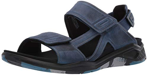 ECCO Men's X-TRINSIC Leather Sandal, True Navy Nubuck, 44 M EU (10-10.5 US)