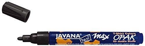 Kreul 92772 - Javana Texi Mäx Opak, schwarz, mit Rundspitze ca. 2 - 4 mm, Stoffmalstift für helle und dunkle Stoffe, waschecht nach Fixierung