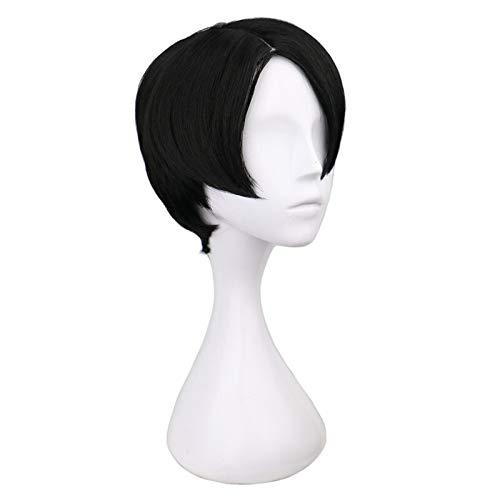 Recta corta de Cosplay Negro 30 Cm pelucas de pelo sintético para mujeres pelucas sintéticas de calidad con (Color : 12inches)