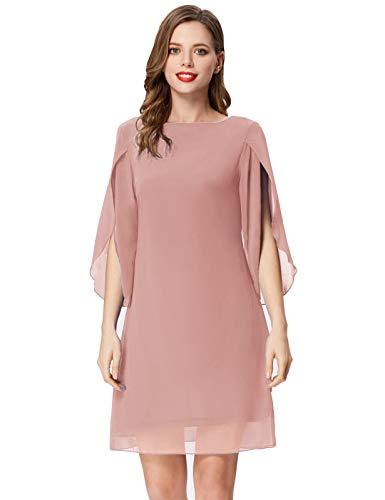 Damen Chiffon Sommer Kleid Langarm Loose Fit Midi Abend Party Kleid L Hellrosa CL11125-15