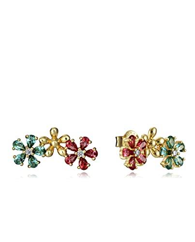 Pendientes Viceroy Colección Trend de plata con baño de oro y flores con circonitas multicolor
