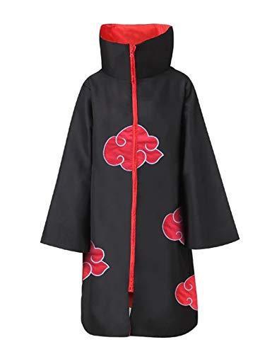 SAFTYBAY Unisex Akatsuki Cloak Akatsuki Robe Halloween Naruto Anime Cosplay Itachi Costume Uniform for Adults and Kids (Stand Collar Cloak, Large)