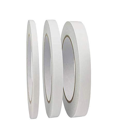 Cinta de Doble Cara de 50m x 8mm/10mm/12mm Cinta Adhesiva de 3 Rollos de Alta Resistencia Cintas de Doble Cara Para Scrapbooking Fabricación de Tarjetas Envoltura de Regalos Manualidades