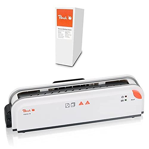 Peach PBT406-03 Thermobindemappe, A4, 30 Blätter, 80 g/m², 100 Stück, weiß + PB200-70 Thermobindegerät DIN-A4 schnell startklar | nur 1 min. Bindezeit | einfachstes und schnellstes Bindesystem