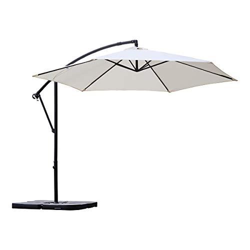 Sekey® Ampelschirm 300 cm Sonnenschirm Gartenschirm Kurbelschirm mit Kurbelvorrichtung Sonnenschutz UV50+ (Creme)