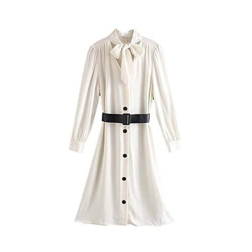 Mujeres Elegante Vestido Midi Blanco Pajarita Fajas