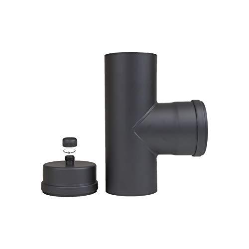 LANZZAS Pelletrohr T-Stück im Durchmesser 100 mm - Farbe: schwarz - mit Reinigungskapsel und Kondensatablauf