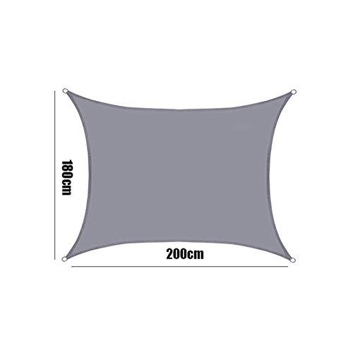 Schattensegel Grau Wasserdicht Sonnensegel Polyester Oxford Gewebe-Quadrat-Markisen Sonnenschutz-Überdachung for Outdoor Garten Rodless Zelt Sonnenschutztuch. ( Color : 180x200cm , Size : Grey )