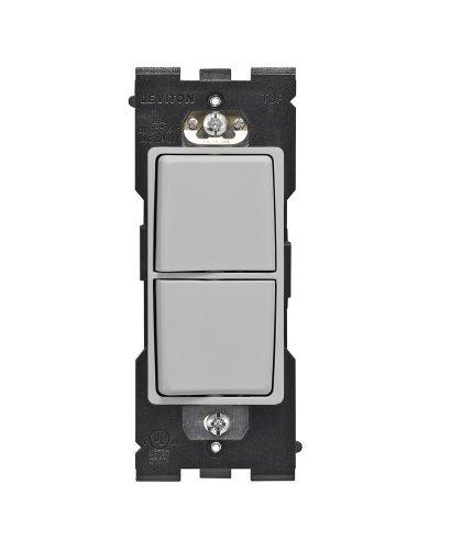 Leviton RE634-PG Renu Single Pole Combination Switch, 15-Amp, 120/277VAC, Pebble Grey