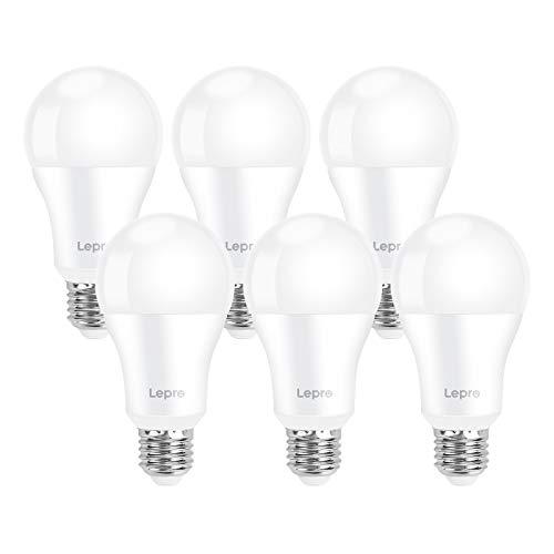 Lepro Lampadina LED E27 1521 lumen, 13.5W Equivalenti a 100W, Luce Bianca Fredda 6500K, LED Lampadina Super Luminosa, Risparmio Energetico, Angolo di Raggio 200°, Nessuno Sfarfallio, Pacco da 6 Pezzi