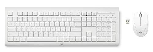 HP – PC C2710 Combo Tastiera e Mouse Wireless, Tastierino Numerico, Tasti Scelta Rapida, Piedini Regolabili, Rotella Scorrimento, Silenziosa e Reattiva, Ricevitore USB Incluso, Layout Italiano, Bianco