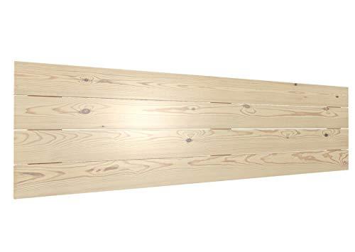 LA WEB DEL COLCHON - Cabecero de Madera Rústico Vintage para Cama de 180 (190 x 44 cms.) Barnizado Natural | Cabeceros Madera | Dormitorio Matrimonio | Cabezal Cama |Estilo nórdico