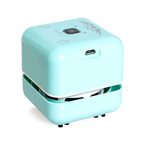 White Elephant Gifts, Mini Desk Vacuum Cleaner, Rechargeable Desktop Vacuum Sweeper with USB Brush as Present to Suck up Fine Particle Bread Crumbs Dust Ash Pet Fur Eraser Waste(Blue)