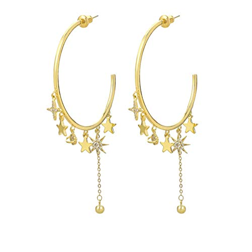 Vvff Zirconia Personality Big Hoop Earrings Cute Stars And Moon Long Tassel Accessories Stud Earrings For Women Jewelry
