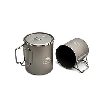 Tasses de camping TOAKS Pure Titan - Grande taille - Peut être utilisée comme casserole (375 ml, 450 ml, 550 ml, 650 ml, 750 ml, 1100 ml), 750 ml + 450 ml (sans couvercle).