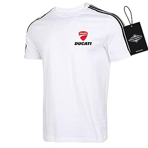 xiaosu Herren T-Shirts 100% Baumwolle Bequem D.u-CA.ti Kurz Hülse Runden Hals Hemden Zum Golf Atmungsaktiv/Weiß/L