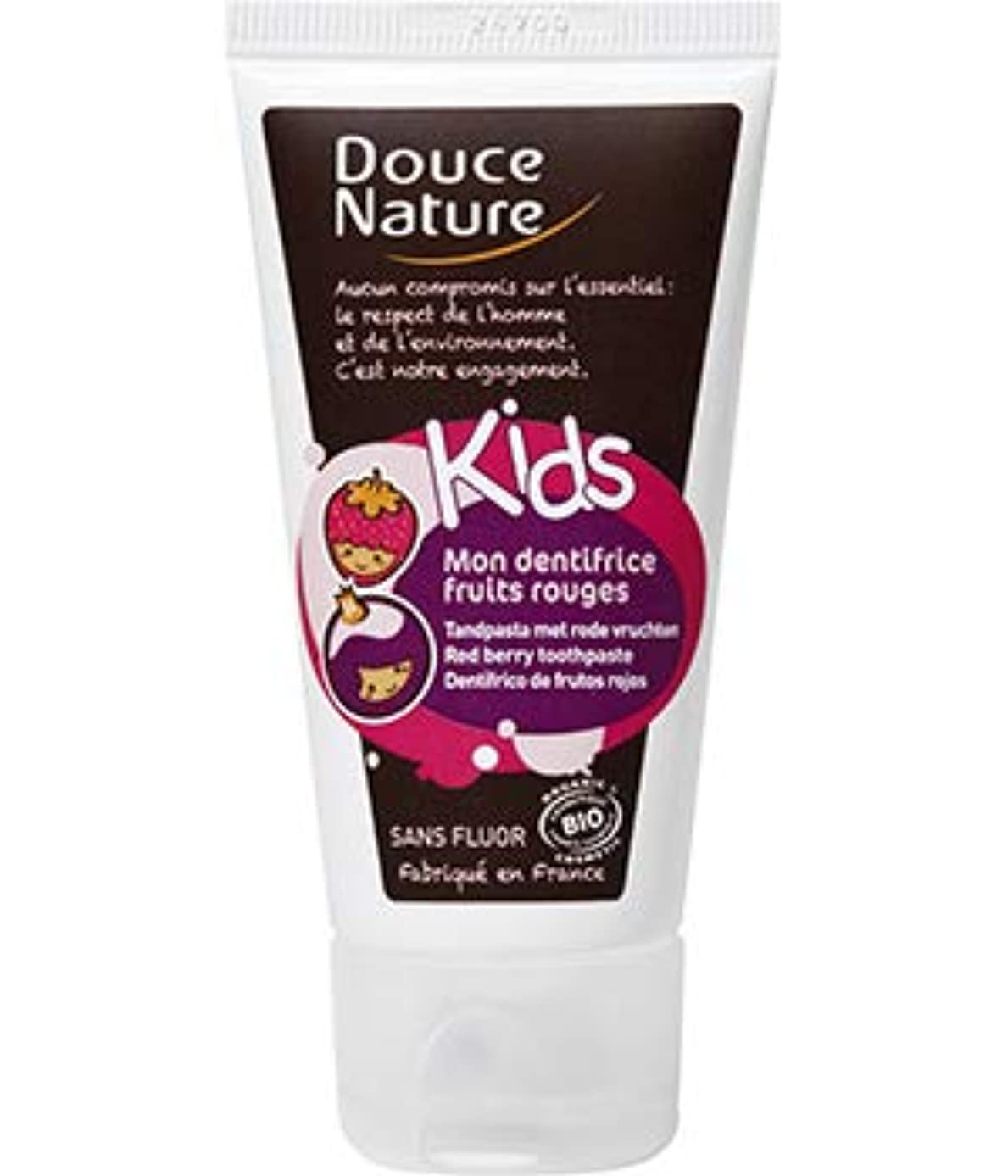 Douce Nature Organic Red Berry Toothpaste For Kids 50ml - Fluorine Free - Protects Teeth Enamel - Effectively Brushes Teeth - Gentle On Gums - Formula Specifically Developed For Children - Hong Kong