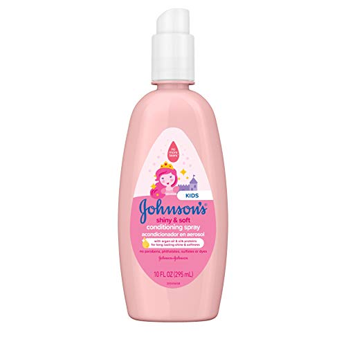 Johnson's Shiny & Soft Tear-Free Kids' Hair Conditioning Spray with Argan Oil & Silk Proteins, Paraben-, Sulfate- & Dye-Free Formula, Hypoallergenic & Gentle for Toddlers' Hair, 10 fl. oz